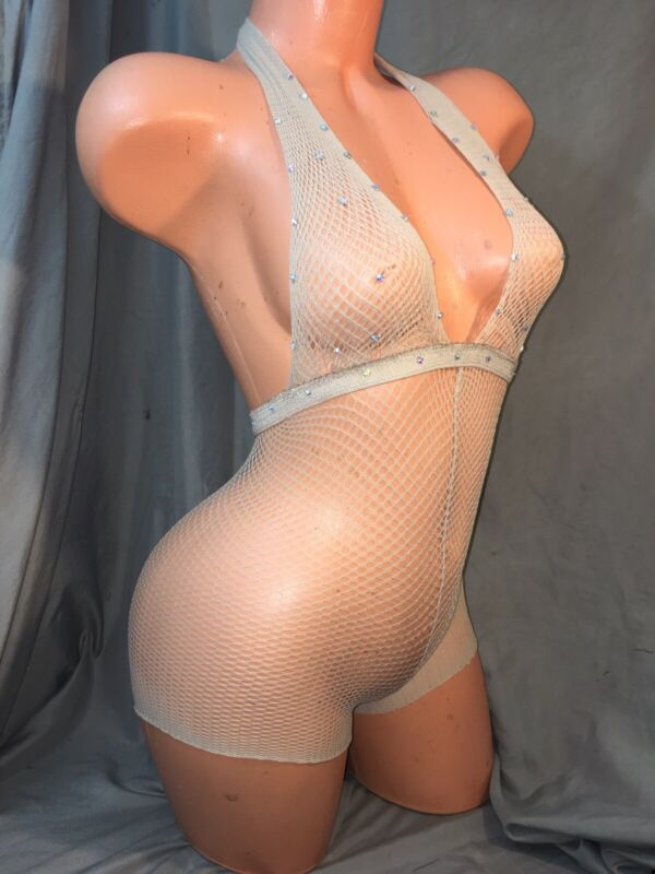 exotic dancewear one piece romper fishnet outfit size Xsmall bust size A/B