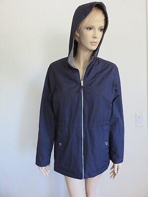 PURPLE GRAY WEATHER PROOF FAUX FUR REVERSIBLE ZIPPER HOODIE JACKET COAT SIZE M (Purple Fur Jacket)