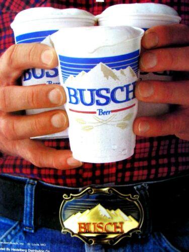 """1981 Busch Round Up A Round Buckle Original Print Ad 8.5 x 11"""""""