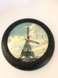 Eiffel Tower Clock Metal Glass Face 10 Inch Fox Clocks