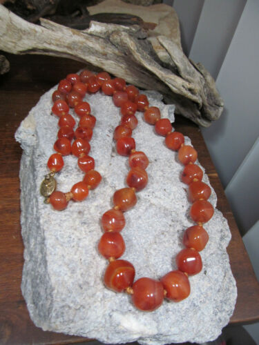Chinese Sterling silver Box Clasp Graduated Carnelian Stone Knotted Necklace