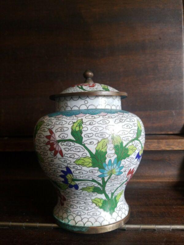 """Antique Chinese 7"""" Cloisonne Floral Vase Covered Jar"""