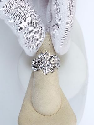 14K WHITE GOLD 2 CT BAGUETTE & ROUND DIAMOND RING SZ 7 1/4
