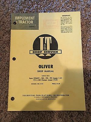 It Oliver Shop Manual Series Super 99gmtc-950-990-990 770 880