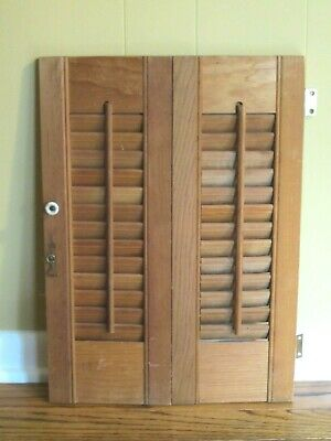 """One Pair of Wooden Louvered Window Shutter 20"""" Tall x 14-1/4"""" Wide (Across) for sale  Shipping to Canada"""