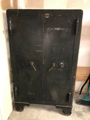 "LARGE COMMERCIAL TYPE MOSLER SAFE-42-1/2"" WIDE X 6"" HIGH-DOUBLE DOORS/COMBINATI"