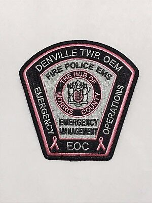 Denville Emergency Management pink cancer awareness police patch - 2017 issue.