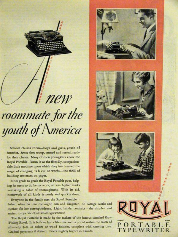Typing Ad ROYAL PORTABLE TYPEWRITER 1928 Advertisement Matted