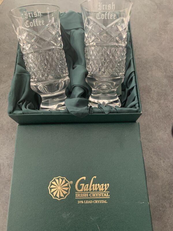 Galway Crystal Cut Glass Irish Coffee Cups- Set Of 2 - New In Box