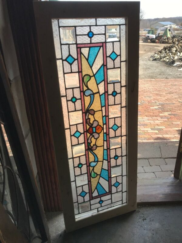 Sg 3258 Antique stained Jeweled Beveled glass transom window 20 x 51.25