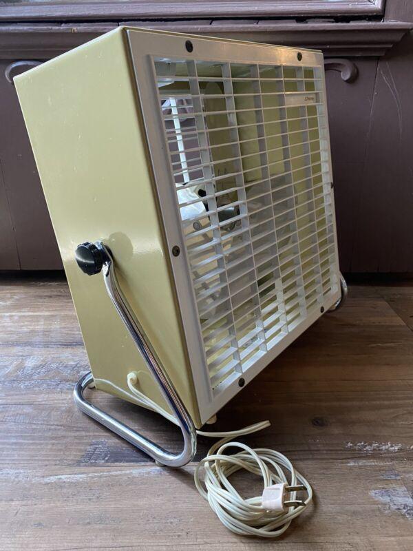 "1964 Rare Vintage 14"" JcPennys  box fan 2 speeds 3 Metal Blade  W/ Tilt stand"