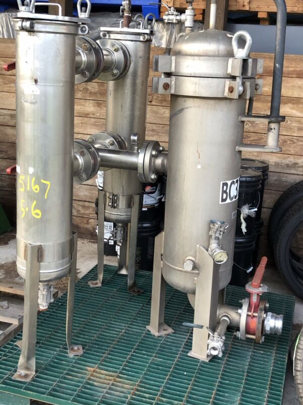 Filtration Skid Rosedale 121230-3F Vessel and Two D8-30-3E Mounted On Metal Skid