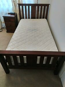 Sturdy king single bed and bedside drawers (mattress not included)