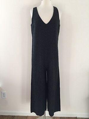 New MADEWELL Sweater Jumpsuit Merino Wool Overalls Dark Grey H3392 Small