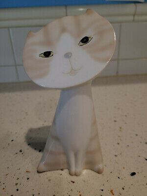 Flat Face Cat Porcelain Mid Century Modern Tabby and White OM 027A85 Mint