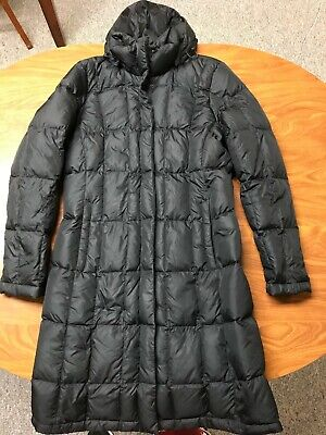WOMENS USED THE NORTH FACE BLACK 550 DOWN LONG HOODED COAT JACKET SIZE MEDIUM