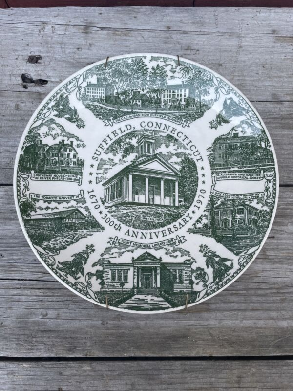 Suffield CT 300th Anniversary 1970 Collector Plate Kettlesprings Rare Display