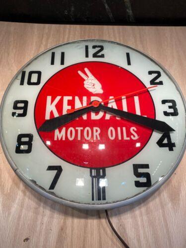 "Vintage Kendall Motor Oil lollipop clock Swihart 15"" glass face"