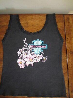 Ladies Black Vintage HOLOUBEK 1991 Hawaii HARLEY DAVIDSON Lace Tank Top S Biker
