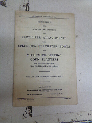 1935 Mccormick Deering Corn Planter Fertilizer Boot Attachments Instruction Book