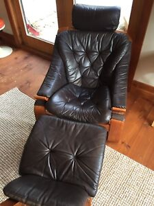 Teak and Leather Lounge Chair and Stool