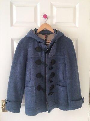 Burberry 100% Wool Jacket Coat with Hood Blue UK6