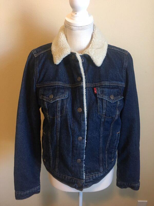 Levis Sherpa Lined Denim Trucker Jacket Youth Size Medium