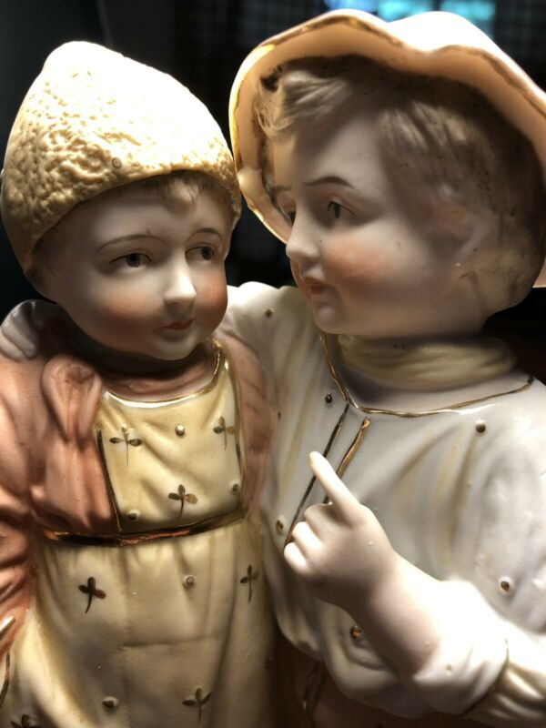 "HEUBACH (?) Large 9"" Statue of Boy & Girl (Mansplaining)"