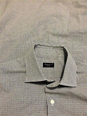 FINAMORE 1925 NAPOLI - 15.75 - White, Blue, Brown Box 100% Cotton Dress Shirt