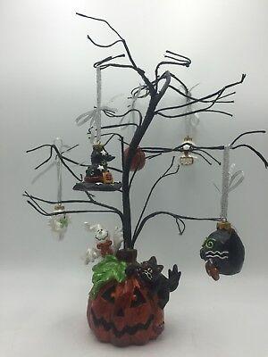 Pflatzgraff Halloween Tree W/ Ornaments Ghost Cat Witches Hat Skeleton Pumpkin