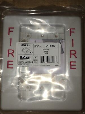 Est G1t-fire White Trim Plate For Est Genesis Fire Alarm Hornstrobe Devices