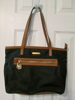 Michael Kors Kempton Medium Nylon Tote, Shoulder Bag, Handbag, Black & Brown EUC