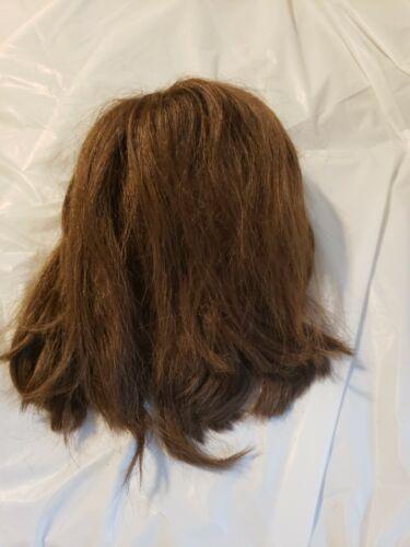 Vintage Half Wig Hair Piece Brunette W Headband 10 Long Used At Halloween 1970s - $19.99