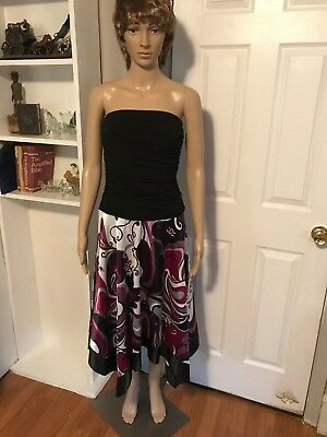 BEAUTIFUL STUDIO Y STRAPLESS DRESS WITH HANDKERCHIEF HEM, BLACK PURPLE PINK WHIT (Dress With Handkerchief Hem)