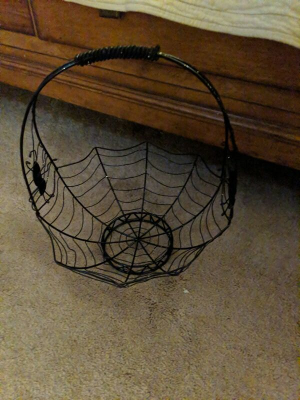 Halloween Spider Web Metal Basket 16 inches Height FREE SHIP