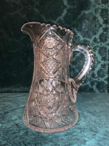 CA 1900 HEAVILY CUT CUT GLASS CRYSTAL WATER PITCHER