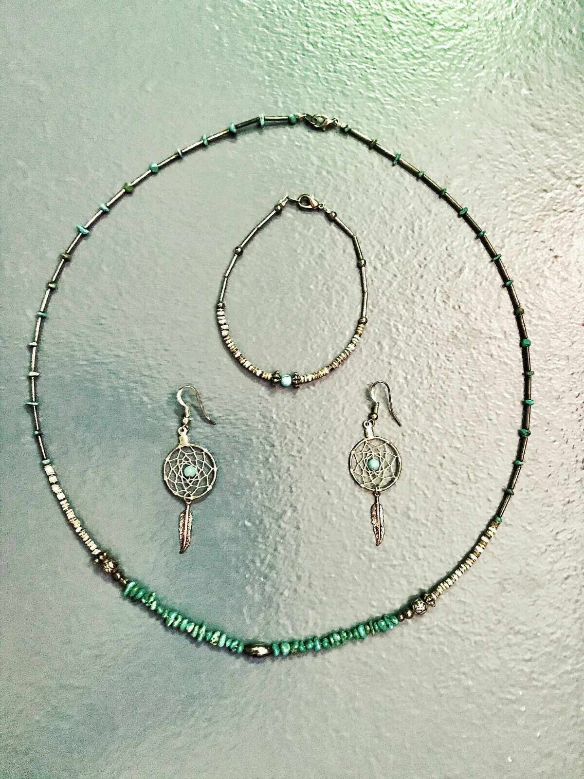 Dream Catcher Turquoise Necklace, Earring, Bangle Boho Leaf Feather Alloy Navajo - $17.00