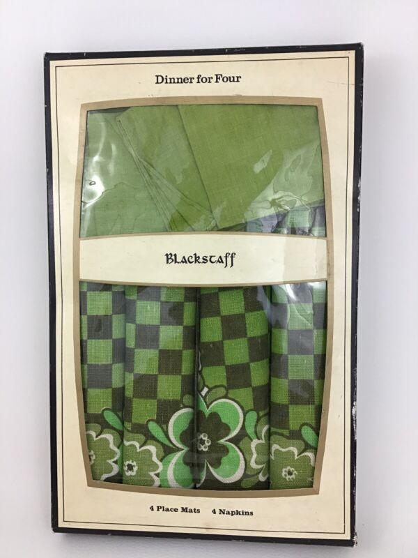 Vintage Blackstaff Irish Linen Set 4 Napkins Placemats Flower Green Check 1960s
