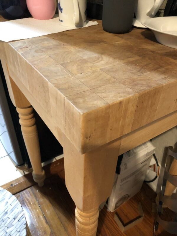 "Farmhouse Butcher Block Table Wood Cutting Board 3"" Thick"