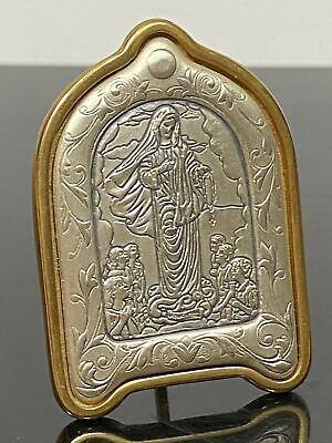 VTG Sterling Silver 925 Religious Holy Icon Saint Mary Miniature Frame Figurine