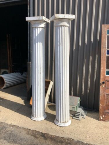 """stunning pr c1840 fluted Greek revival style column posts 90"""" h x 15/16"""" tapered"""