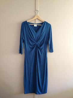 A pre-loved Teal Blue maternity or pregnancy dress