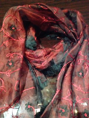 Vintage Red And Black Embroidered Beaded Chiffon Shawl Wrap Scarf