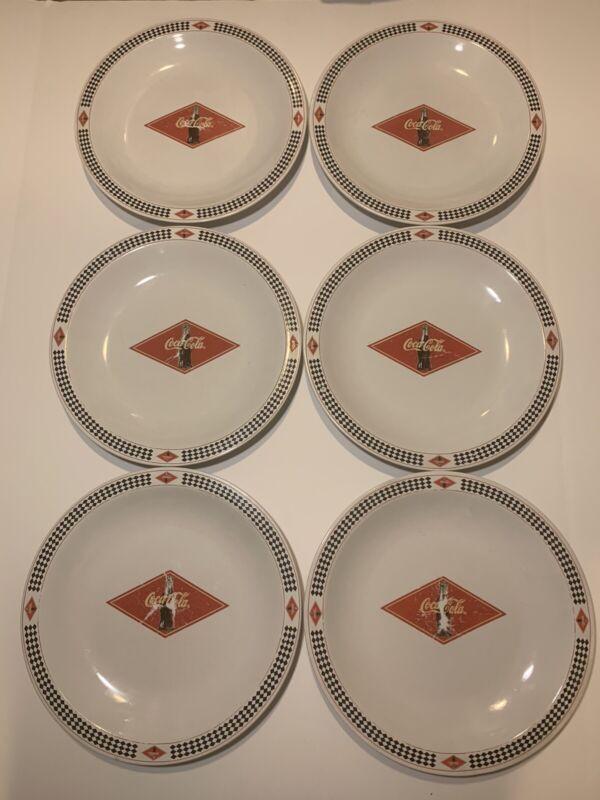 "Set of 6 2003 Gibson Coca Cola plates 10.5"" checkered print"