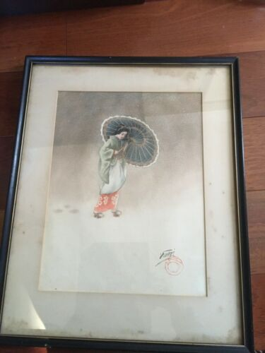 "JAPANESE ORIGINAL WATERCOLOR PAINTING ""GEISHA WITH UMBRELLA"" SIGNED & SEALED"