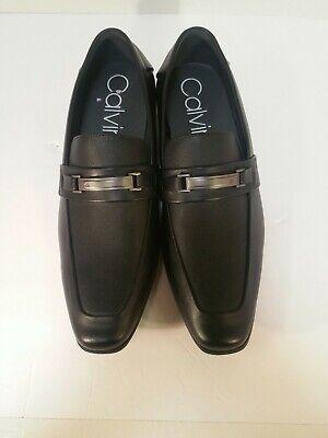 "Calvin Klein Men's ""Ernest"" Black Leather Slip On Dress Shoes Sz 12w Dress"