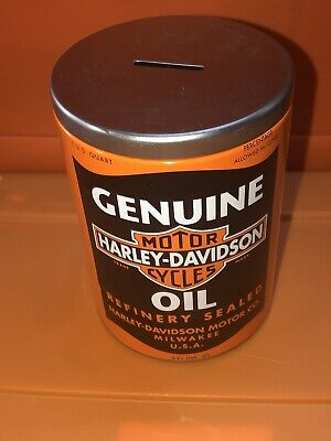 """Harley-Davidson Museum Motorcycle Oil Can Metal Coin Bank 5.5"""""""