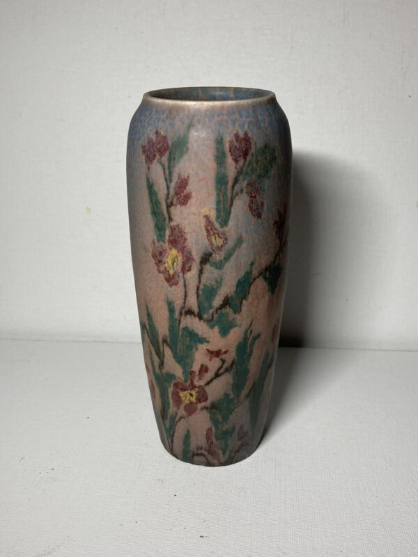 Rookwood Pottery Pink Floral Vase Artist signed Vellum Glaze Antique Louise Abel
