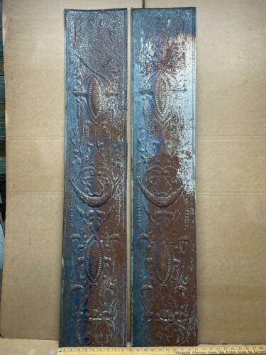 """2 pc 48"""" x 9"""" Flat Antique Ceiling Tin Vintage Reclaimed Salvage Art Craft"""