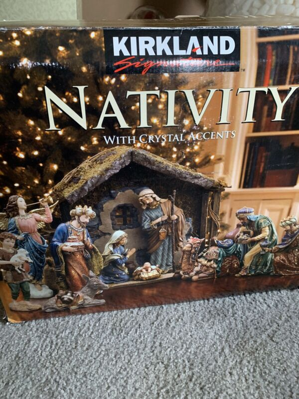 KIRKLAND SIGNATURE CHRISTMAS NATIVITY W/CRYSTAL ACCENTS 18 PIECE SET